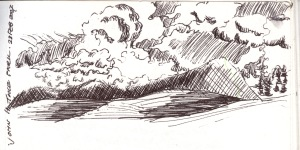 Sketch of clouds over Rattlesnake mountains, western Montana