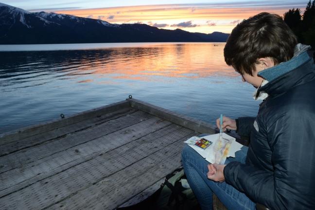 Bethann Garramon Merkle sketching in Grand Teton National Park