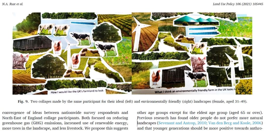 Screenshot of article - displays two collages created by cutting out images of cows, chickens, pigs, trees, buildings, fields, and wind turbines.